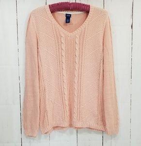 IZOD knit v-neck sweater peach size large